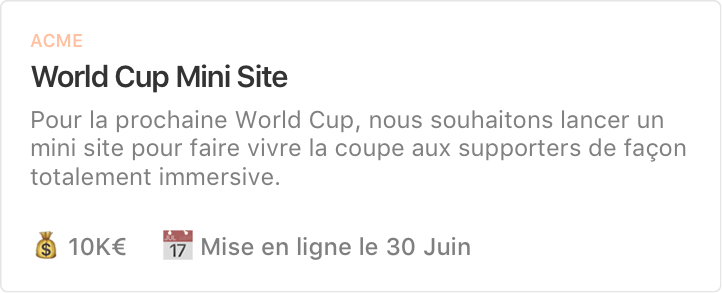 Exemple de projet : World Cup Mini Site