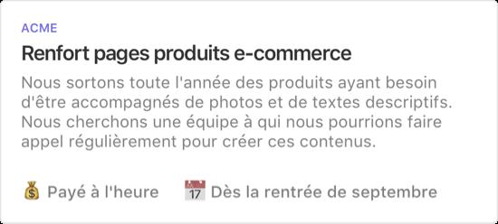 Exemple de projet : Renforts pages produits e-commerce