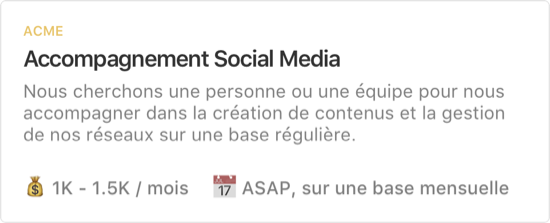 Exemple de projet : Accompagnement social media