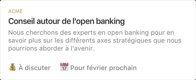 Exemple de projet : Conseil autour de l'open banking